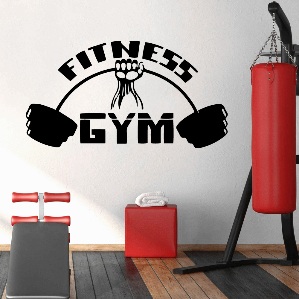 Diy Fitness GYM Home Decoration Accessories Wall Sticker For Fitness Room Art Decals Living Room Vinyl Creative Commercial Mural in Wall Stickers from Home Garden