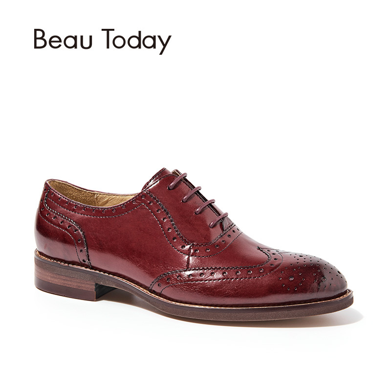 BeauToday Oxfords Women Wingtip Genuine Leather Calfskin Flats Lace-Up Pointed Toe Lady Brogue Shoes Handmade 21094 plus size 32 45 brogue shoes women genuine full grain leather round toe lace up 2018 fashion handmade lady flats wingtip oxfords