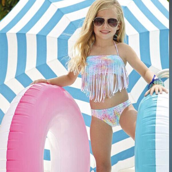 Girls Two-Piece Tassel Bikini Set