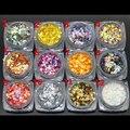 1 Unidades Con 12 Colores Iridiscentes Colores Cambiantes Escala de Pescados de Escamas Escamas Lentejuelas Brillo de Uñas Decoración Del Arte Del Clavo de Manicura DIY