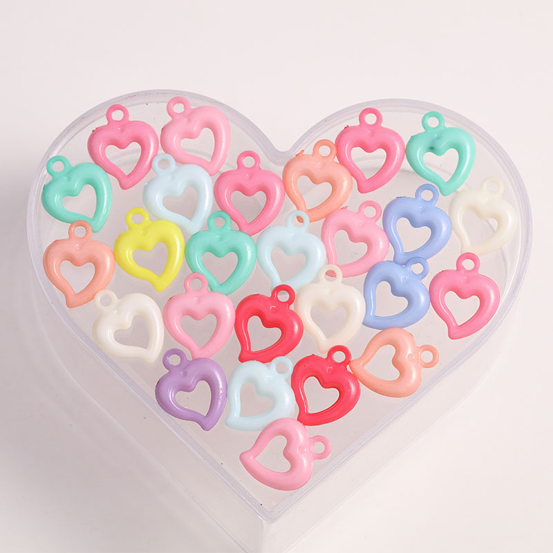 Wholesale 50pcs lot Heart Charm Mixed Colors Acrylic font b Beads b font Charms For Child