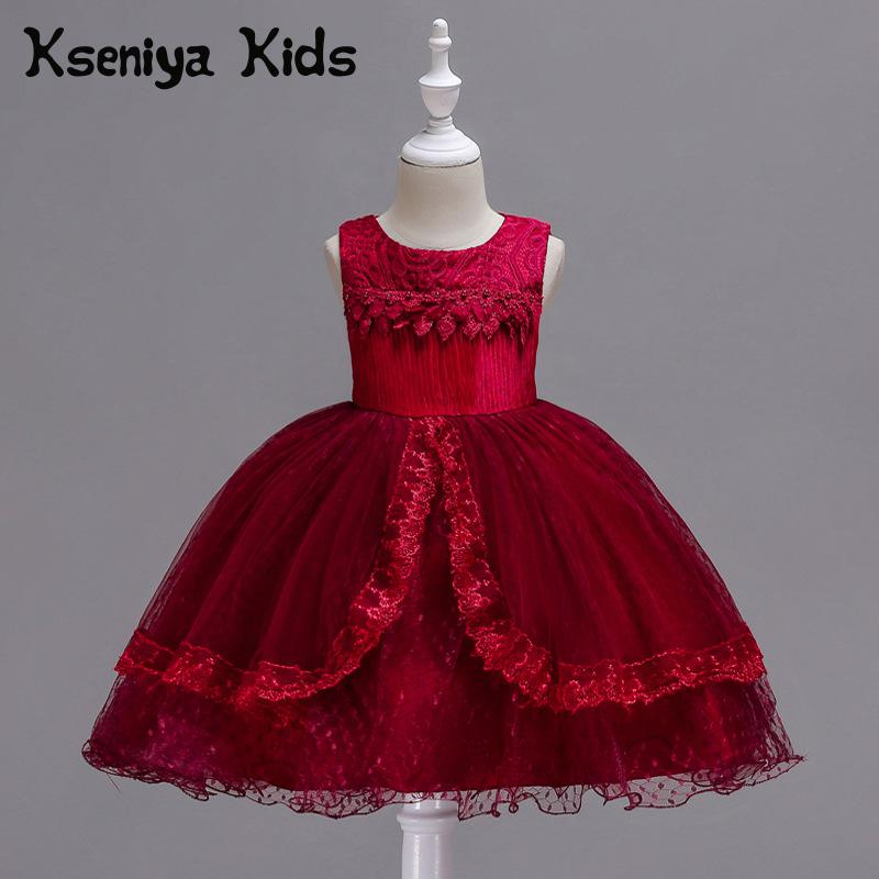 Kseniya Kids 2018 Spring And Summer New Children's Clothing Cute Princess Mesh Lace Sleeveless Big Girl Dress Red Girls Dress