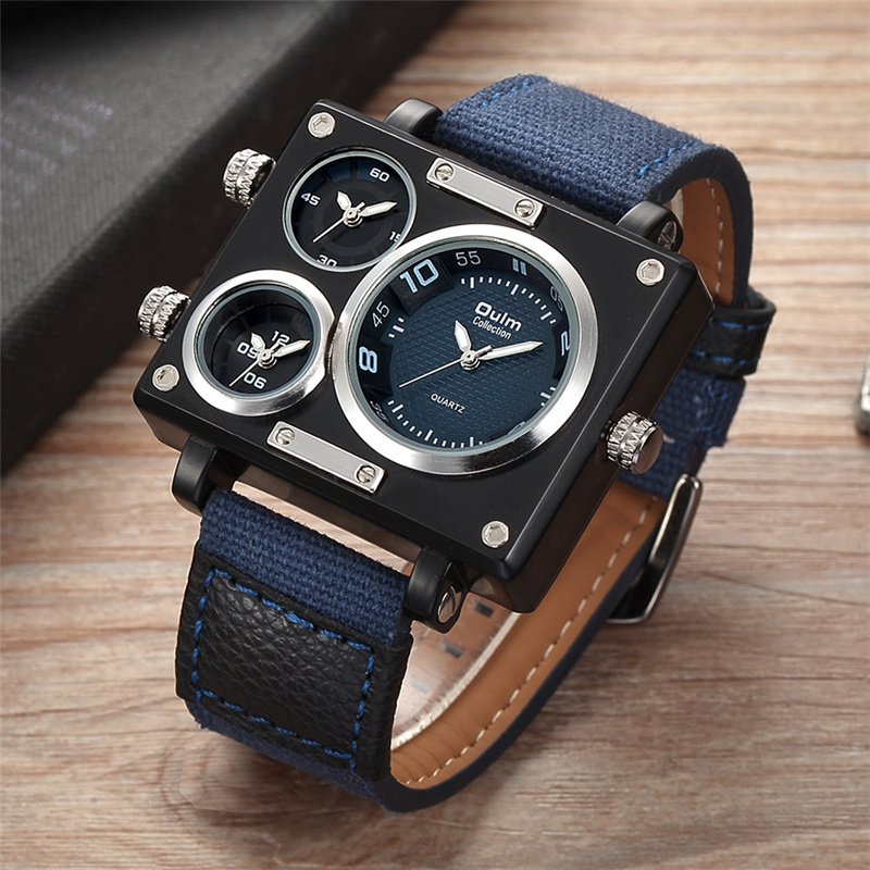 Image 4 - Oulm Watch Luxury Brand Men Fabric Srap Quartz Watch Clock Male Multiple Time Zones Square Sports Watches relogio masculinowatch whitewatch americanwatches for large wrist women -