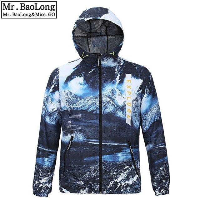 2019 Autumn Coat New Hood Thin Windproof Zipper army Print Outwear Windbreaker Jacket Men Breathable Mens Coats