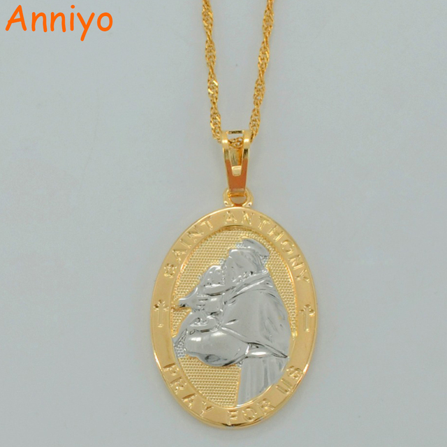 Anniyo saint anthony pray for us mix color pendant necklace two tone anniyo saint anthony pray for us mix color pendant necklace two tone gold color st aloadofball Images