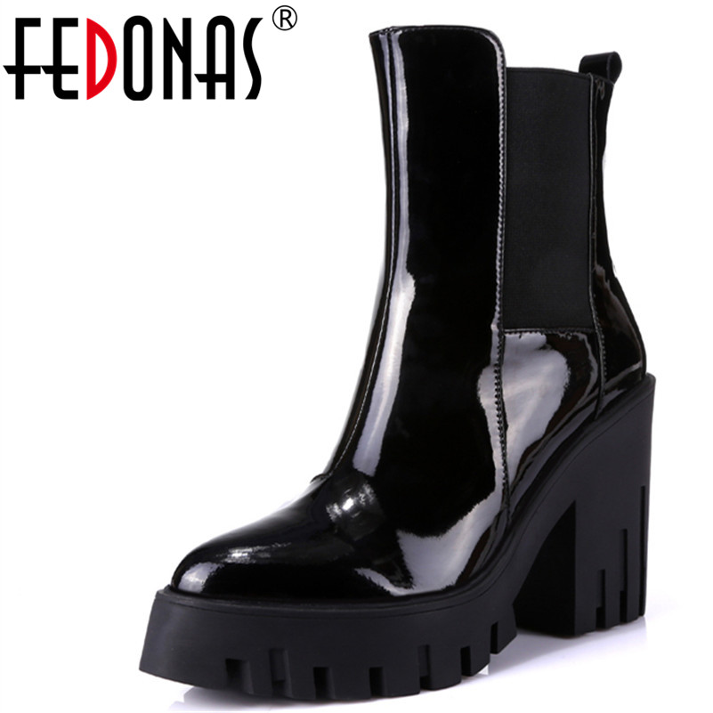 FEDONAS 1Women Ankle Boots Autumn Winter Warm Genuine Leather High Heels Shoes Woman Platforms Pointed Toe
