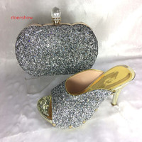 Silver Color African Women Shoes And Bags Set Italian Shoes And Matching Bags For Party Italian