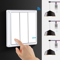 Smernit Wireless light Switch 220v 3 Gang Wall Switch Wireless Remote LED Lamp Switches Waterproof Touch Push Button Switch