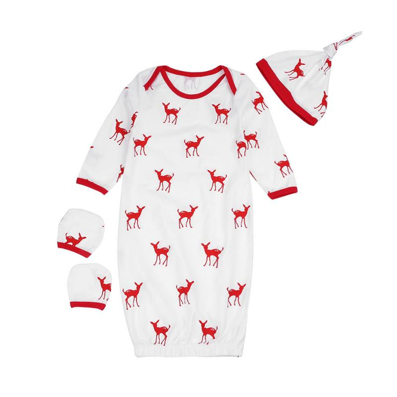 Spring Baby Sleepwear Deer Print New Year Newborn Casual Sleep Tops Cartoon Pajamas Hat Gloves Costume ...