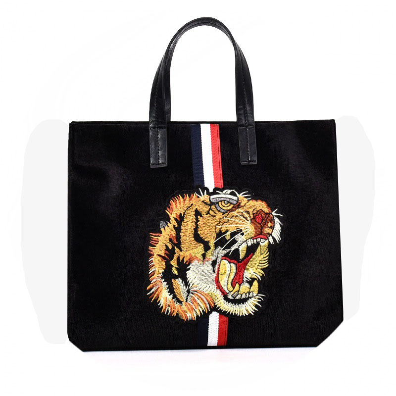 Women's New Animal Pattern Tote Bag Fashion Shopping Tote Gold Velvet Embroidery Tiger Head Shoulder Messenger Bag embroidery detail tote bag