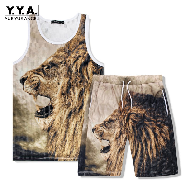 Summer Men Sleeveless Vest Shorts 2pcs Set Beach Wear 3D Lion Head Printed Jogging Tracksuit Casual Outside Trainer Outfits Suit