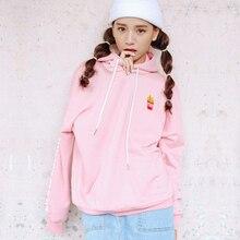 Женская мода футболка весной 2017 корейский стиль новые люди пальто милый розовый вышивка фри письмо каваи толстовки женщин