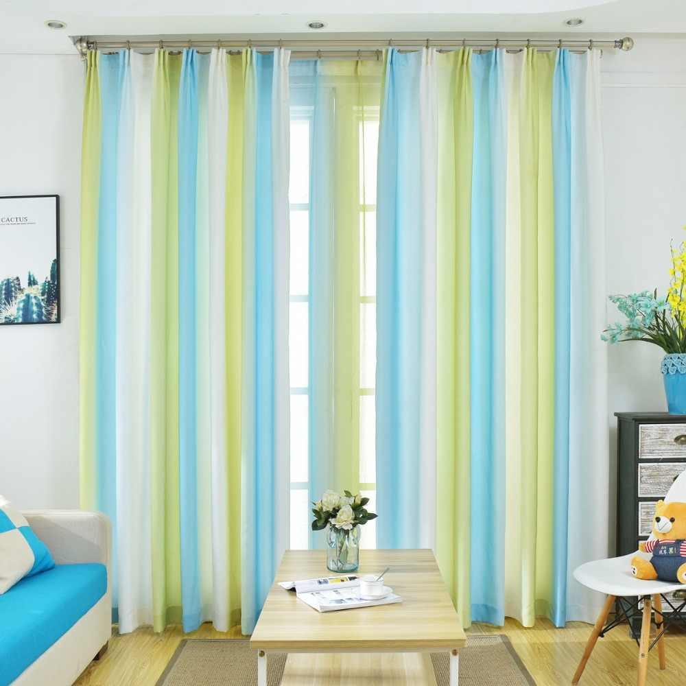 สีสันสดใสผ้าม่านที่สวยงามสำหรับห้องนั่งเล่น 3D สีเขียวสีฟ้า Tulle หน้าต่าง Elegant Cortinas ห้องนอน Draps