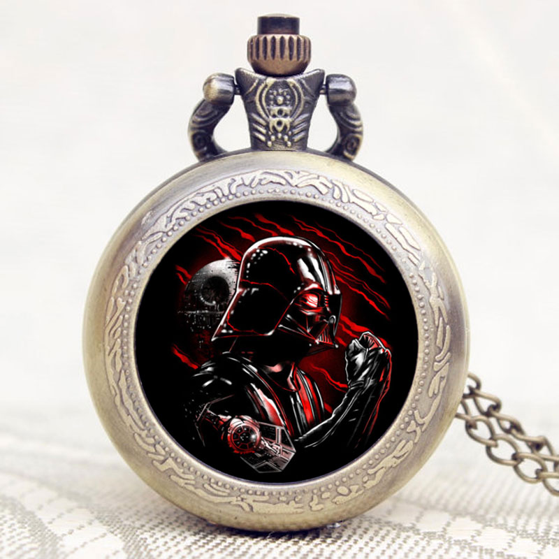 Star Wars Darth Vader's Shield Theme Pocket Watch Bronze Retro Fob Watch With Chain Necklace Relogio De Bolso unique new bronze dad pocket watch necklace the greatest dad fob father vintage quartz men watches luxury gift relogio de bolso