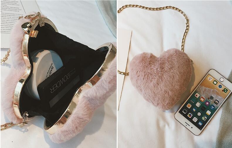 2018 autumn new fashion trend female bag peach heart plush chain small fairy shoulder diagonal package heart-shaped wild 6