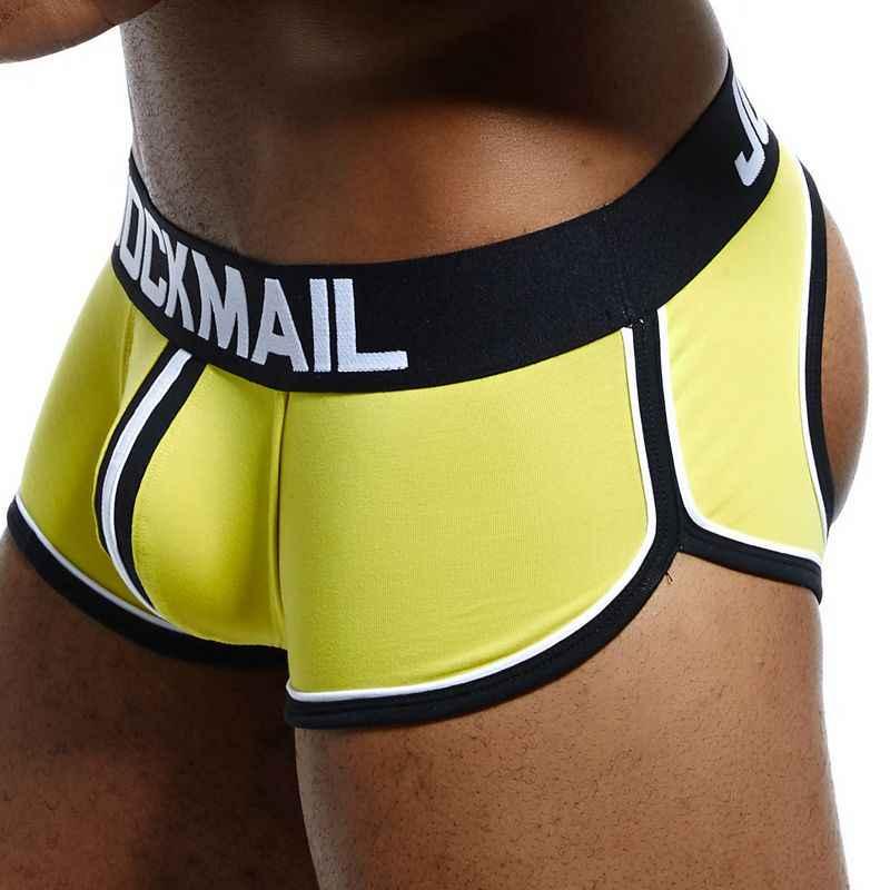 JOCKMAIL Sexy boxer sous-vêtements pour homme shorts dos nu fesses coton dos ouvert Gay hommes sous-vêtements jocksangles cuecas Gay culottes