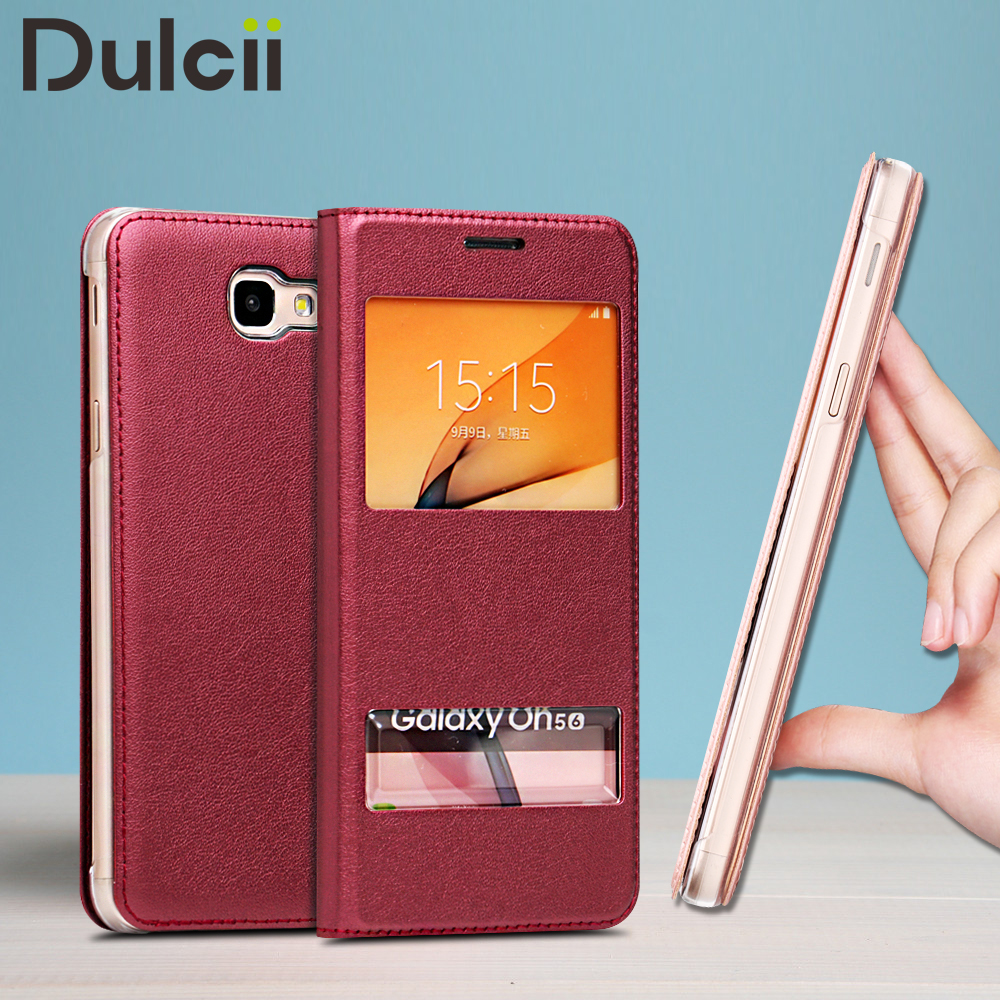 DULCII Phone Cases for Samsung Galaxy On5 2016 J5 Prime Dual Window PU Leather Folip Case Cover for Galaxy On 5 2016 Bag Coque