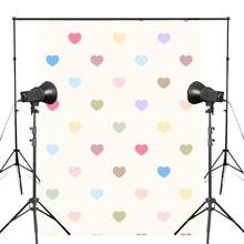5x7ft Colorful Heart-shaped Pattern Photography Backdrop Simple Style Background Kids Photo Studio Backdrop Props Wall vinyl photography backdrop vintage photo studio photographic background flower wall floral newborns kids background 5x7ft f1913