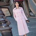 Женщины Двойной Брестед Розовые Зимние Пальто 2016 Осень Плюс Размер XS-4XL Повседневная С Длинным Шерстяное Пальто Женский Пальто RS533