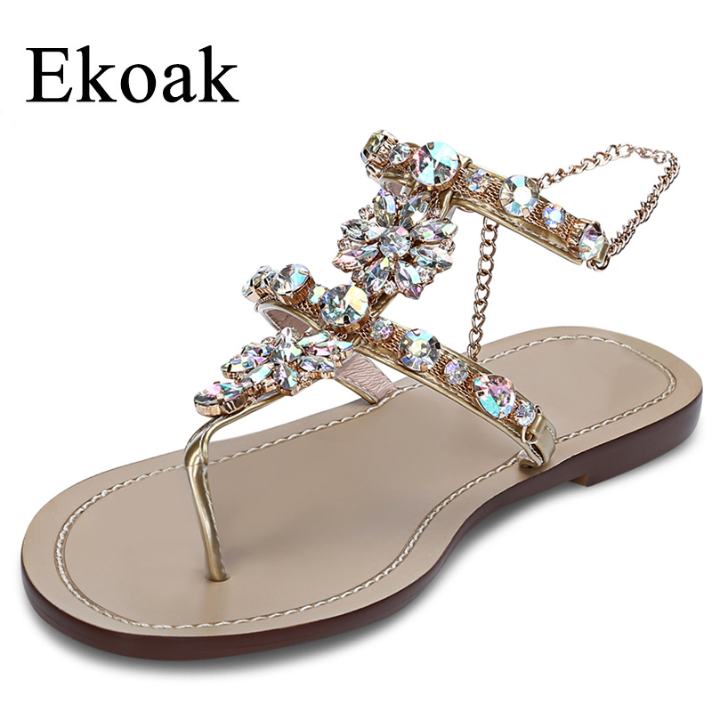 Ekoak New 2018 Women Sandals Summer Fashion Crystal Party Shoes Woman Flat Gladiator Sandals Casual Flip Flops Beach Shoes hee grand bohemia flip flops summer gladiator sandals beach flat shoes woman comfort casual women shoes size 35 42 xwz4429