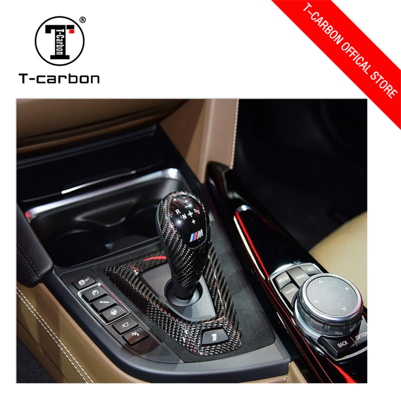 Car styling Carbon fiber Gear Shift Konb Couverture et Couverture De Base Pour BMW M2 F87 M3 F80 M4 F82 F83 vitesse Surround Couverture garniture intérieure