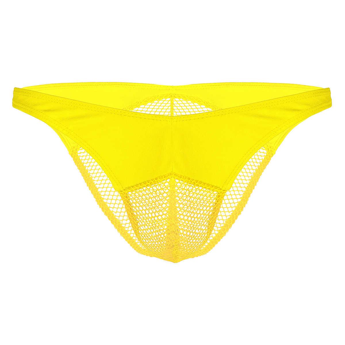 1ecc54096d53 ... 2019 Mens Sexy Thong Bikini Briefs Swimwear Men Panties Bottoms Sissy  Gay Lingerie Fishnet Pouch Thongs ...