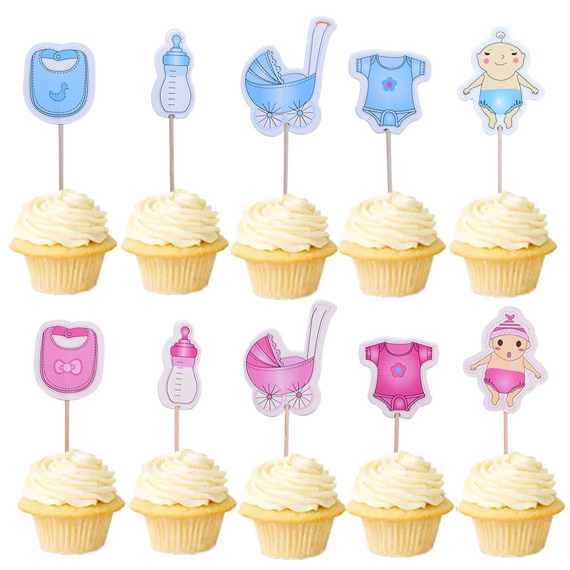 Us 097 30 Off20pcslot Baby Shower Cupcake Toppers Babyshower Boy Girl Christening Kids Birthday Party Favors Cake Decorations Supplies In Cake