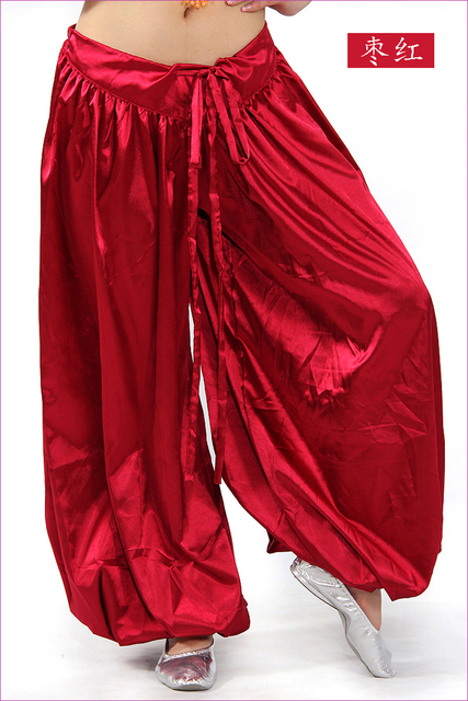 16606ff600e02 Yoga Pants Professional Belly Dance Trousers Pantalones Saten Dancewear  Performing Satin Pant More Colors