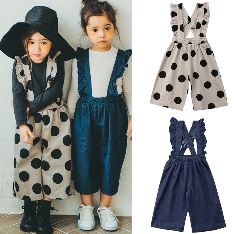 Baby Girls Clothing 2018 Ruffle Wide Leg Overalls Baby Bib Pants Trousers Romper Jumpsuits Children Girls Clothes 0-5T
