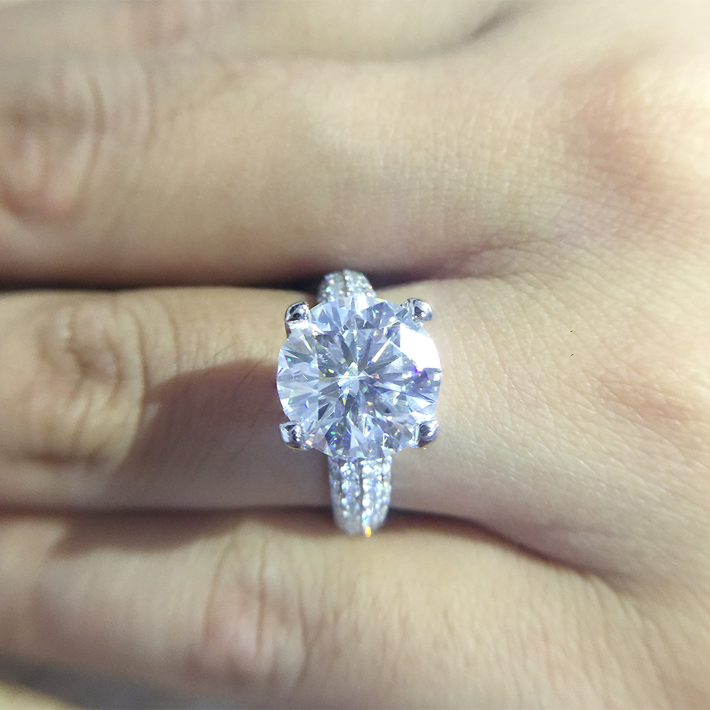 Image 3 - Solid 18K White Gold AU750 3ct  Round Cut DF Moissanite Engagement Rings Anniversary Ring Moissanite Ring For Women-in Rings from Jewelry & Accessories