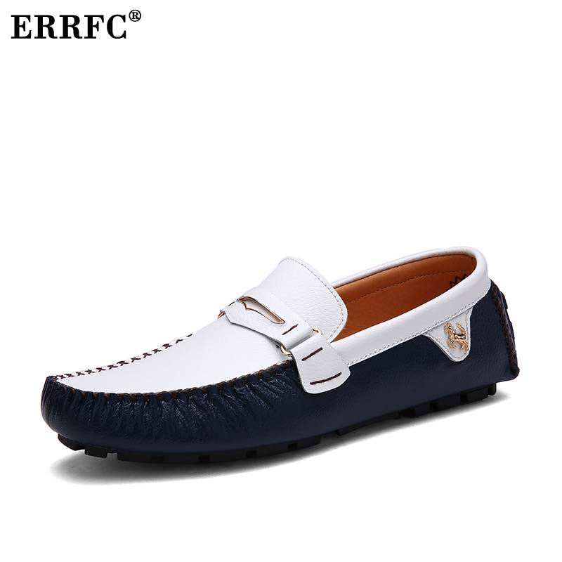 Men's Casual Shoes Errfc New Arrival Men White Loafer Shoes Fashion Slip On Lazy Boat Shoes For Men Driver Shoes Trending Leisure Shoes Blue 38-47