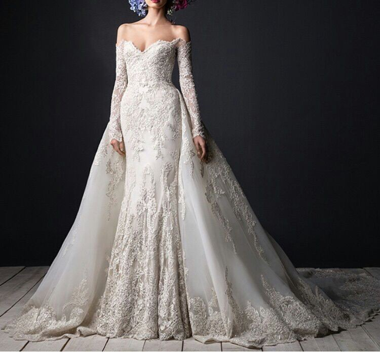 Detachable Trains For Wedding Gowns: 2019 Luxury Lace Wedding Gowns Long Sleeve Detachable