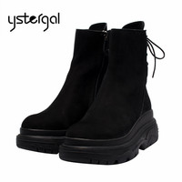 Ystergal Black Suede Women Ankle Boots Back Lace Short Booties Female 6CM Platform Creepers High Tops Military Boots Botas Mujer