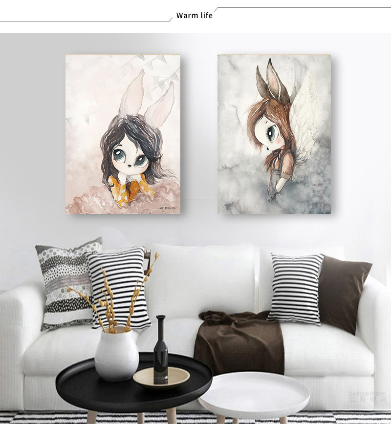 HTB16XaNacvrK1Rjy0Feq6ATmVXaT Home Decor Nordic Canvas Painting Wall Art Rabbit Girl Animal Abstract Watercolor Print Kid Bedroom Living Room Poster Picture