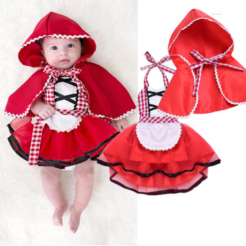 2PCS New Cute Newborn Toddler Baby Girls Plaid Halter Ball Gowm Dress Little Red Riding Hood Costume Cape Cloak Outfit Sets