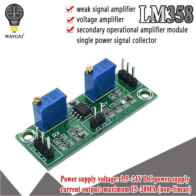 LM358 усилитель слабого сигнала, усилитель напряжения, вторичный Рабочий модуль усилителя, однодиапазонный усилитель сигнала