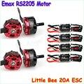 4 pcs emax original rs2205 2300kv cw/ccw do motor + rc plane 4 pcs Little Bee Fvt 20a Mini Esc 2-4 s para Quadcopter FPV Mini Corrida