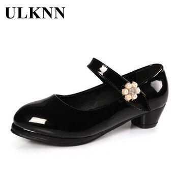 7ffc5da3c Zapatos de princesa para niñas ULKNN para estudiantes zapatos de cuero de  tacón bajo zapatos casuales para niños fiesta de baile escolar boda Mary  Jane ...