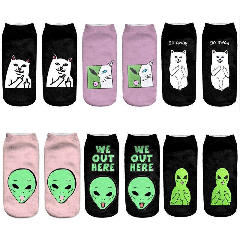 fashion New Emoji Cartoon Alien cat Art funny   socks   Hot Sale 3d Printed Men&womens sockslow cut ankle short No show   socks