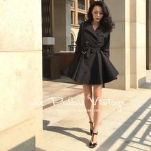 40-Женские винтажные 50s двубортные качели тренчи пальто в черном рокабилли пинап пальто плюс размер элегантные casaco feminino