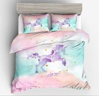 Cartoon Unicorn Printed Bedding Set Quilt Cover Duvet Cover Sets Bed Linen