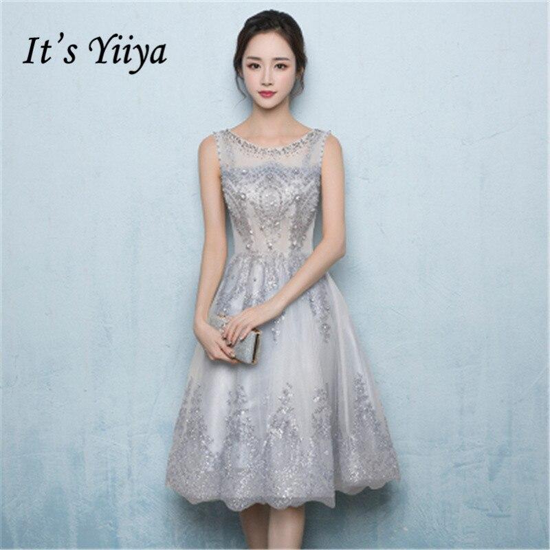 It's YiiYa Cocktail Dress Beading Crystal Pearls O-neck Sleeveless Fashion Designer Gray Formal Dresses LX186 In Stock