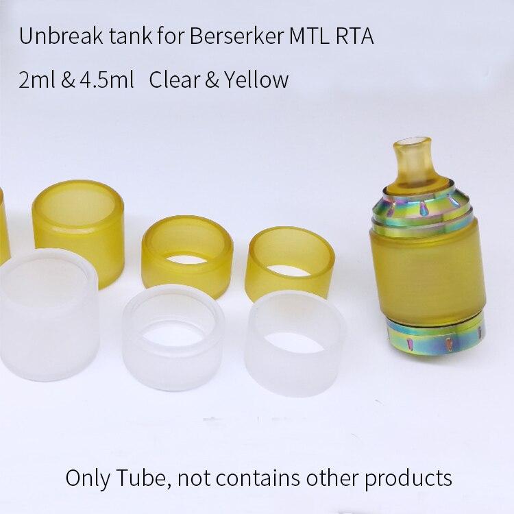 1pc Unbreak Replacement Plastic Tank PEI PC Tube 2ml 4.5ml For Berserker MTL RTA Fat Bubble Normal Staight Tube