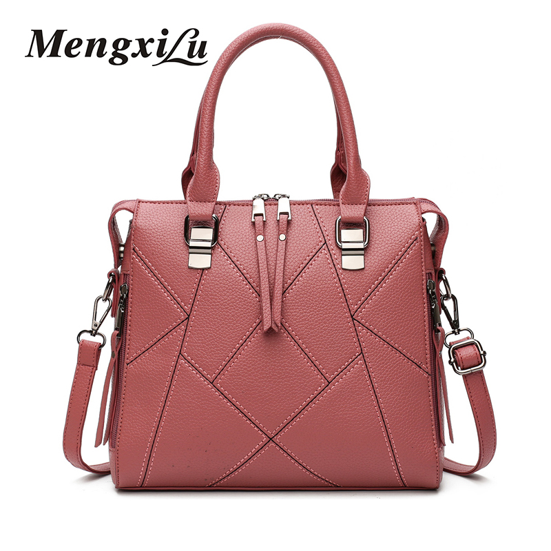 Famous Brand Leather Patchwork Bags Large Capacity Women Shoulder Bag Stitch Tote Bag High Quality PU Leather Women Handbags large capacity women casual tote bags high quality pu leather handbag shoulder bags famous brand crossbody bag for women sac