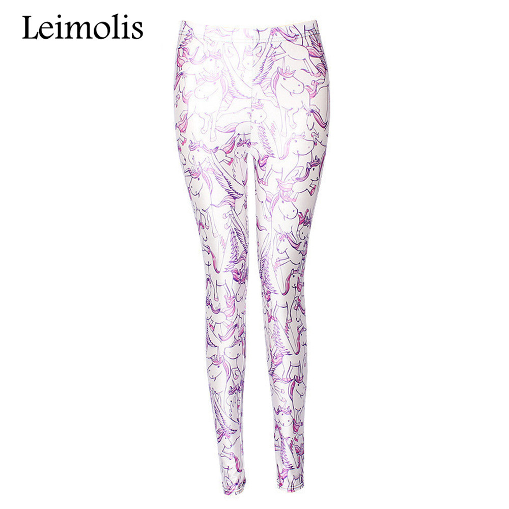 Leimolis 3D Printed Fitness Push Up Workout Leggings Women Gothic Rainbow Unicorn Plus Size High Waist Punk Rock Pants