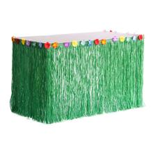 1pc Luau Grass Table Skirt with Tropical Hibiscus Flowers Hawaiian Summer Beach Wedding Party Decorations 276cm x 75cm цена 2017