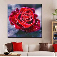 5d Flower Diy Diamond Painting Rose Embroidered Full Drill Red Flowers Cross Stitch Kits Art Unframed