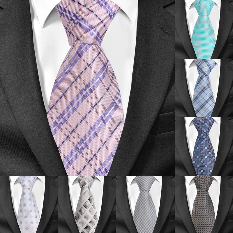 Men Ties Fashion Plaid Neckties For Wedding Business 8cm Widtch Classic Necktie JACQUARD WOVEN Groom Tie For Men Cravat