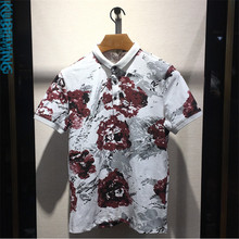 2017 font b Men s b font fashion flower design 100 cotton short sleeve t font