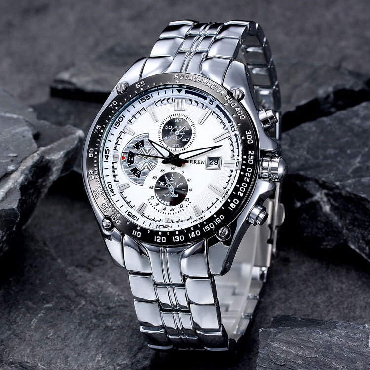 Reloj casual de marca CURREN de cuarzo para hombre, reloj de pulsera grande de acero impermeable, reloj Masculino